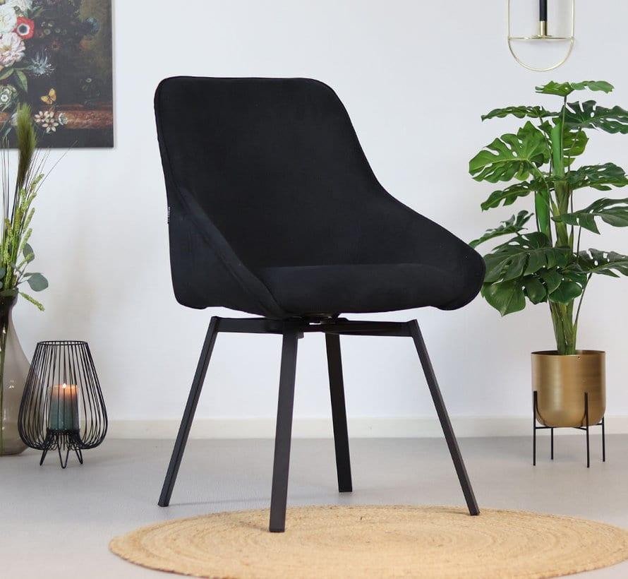 bronx71-horeca-draaibare-stoel-luna-zwart-ribstof