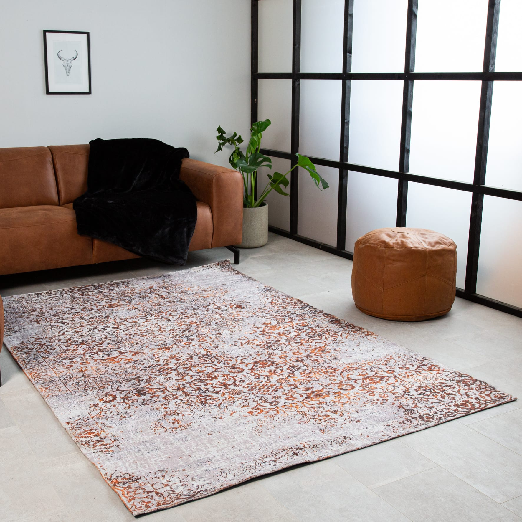 vloerkleed-oranje-wit-dylan-160x230-cm