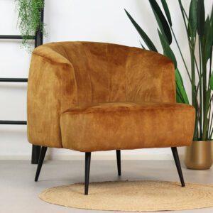 bronx71-fauteuil-billy-okergeel-velvet